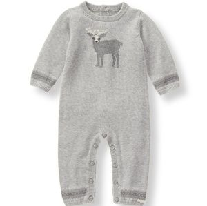 Janie and Jack Knit Grey Outfit 1 Piece Romper